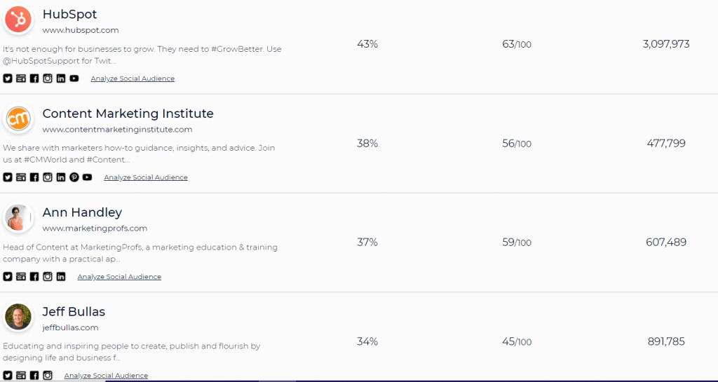 social profiles of target audience