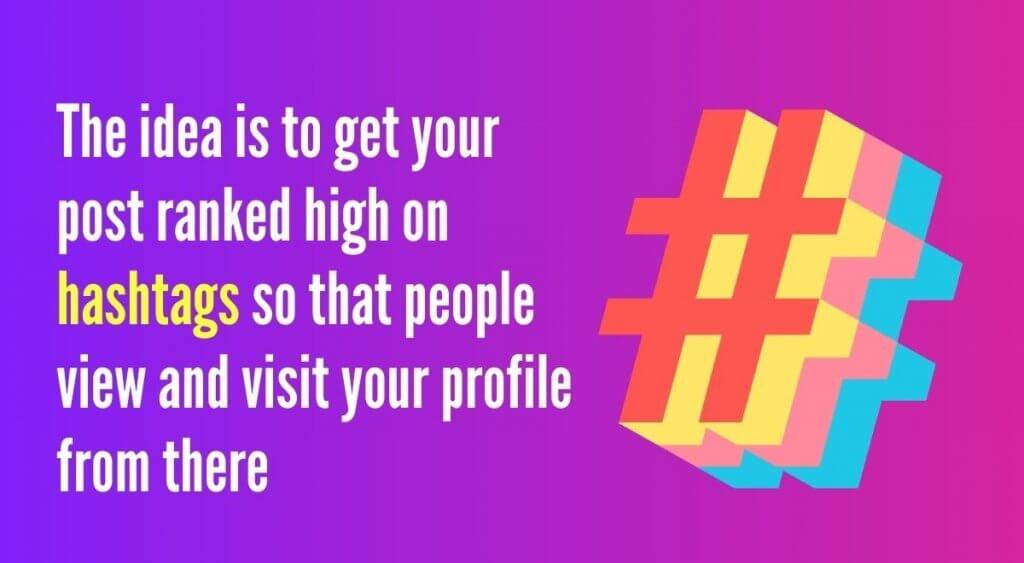 The idea is to get your post ranked high on hashtags so that people view and visit your profile from there